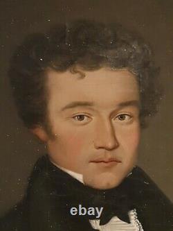 Portrait d'homme époque EMPIRE, daté 1822, cadre doré XIX ème s