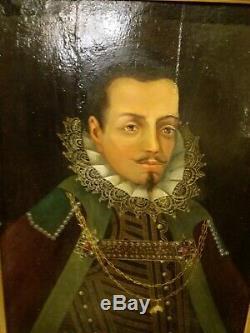 Portrait d homme, tableau xviii/xix, huile sur panneau de bois, grand format