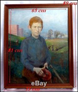 Portrait d'un Jeune Adolescent Roux par Pierre Villain 1880-1950 Huile/Bois