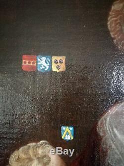 Portrait d'une aristocrate, armoiries, XVIIIè, huile sur toile, hst, tb état