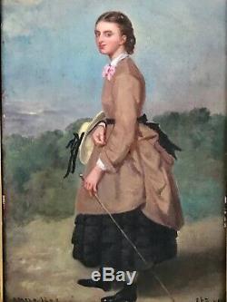 Portrait d'une élégante à la cravache, huile sur panneau 1853