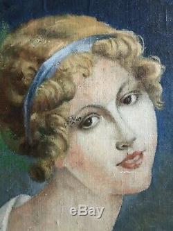 Portrait de Jeune Femme Ecole Romantique vers 1830-1840 dans son joli cadre doré