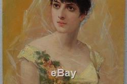 Portrait de femme aux roses, Ct. Brochart (1816-1889/99)