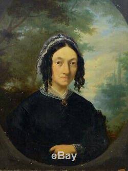Portrait de femme école Française Huile sur panneau de bois XIXe