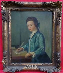 Portrait de jeune Gentilhomme à l'écriture XVIIIème siècle Huile sur Bois