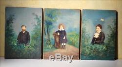 Portrait miniature enfant L DUGARDIN famille XIXe Huile sur bois & photo Tableau