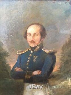Portrait officier Empire Prussien A. Cramer Début 19em Huile sur bois