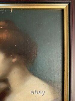 Portrait style Jean-Jacques HENNER huile sur panneau de bois 19 ième (non signé)