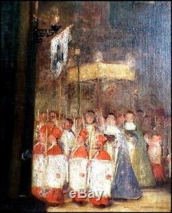 Procession d'Enfants de Chur dans une Église Intérieur d'Église Huile XIXe
