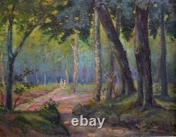 Promenade familiale en sous-bois 1925 par Jules CHEVRET, post impressionniste