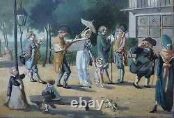 RARE PEINTURE XIXe. INCROYABLES & MERVEILLEUSES DANS UN PARC SOUS LE DIRECTOIRE