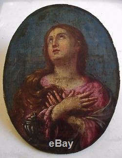 RARE tableau jolie petite peinture ovale Marie Madeleine repentante XVIIIe 18e