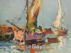 REGIS BERARD EC. LYONNAISE DEBUT XXè PAIRE DE MARINES H/P SUPERBES TABLEAUX 1920