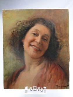 ROUX-ABOUGIT (EC. LYONNAISE) BEAU PORTRAIT DE FEMME Ca 1930 H/P ART DECO SOURIRE