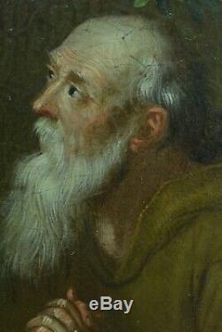 RareTableau ancien Portrait Religieux Flamand Pieter Snyers Saint Memento mori