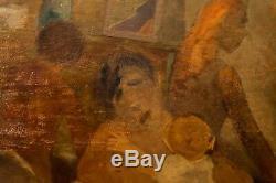Rare. Grande huille sur panneau. Théodore Koenig. Surréaliste belge