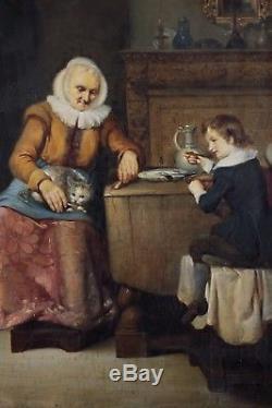 Rare, Johannes Christoffel Vaarberg, 1825-1871, Le repas, Cotation 6.000 euros