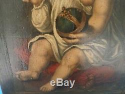 Rare Tableau ancien Portrait lenfant louis xiv