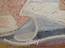 Raymond TRAMEAU Rare Grand Tableau HST 1967 Abstraction Cubiste Picasso 100x64cm