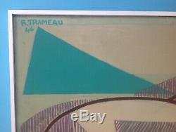 Raymond TRAMEAU Rare Grand Tableau HST de 1946 Nue Cubiste Picasso Cubisme 95cm
