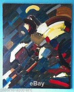 Raymond TRAMEAU Rare Huile sur Toile HST 1955 Signée Abstraction Lyrique 81x65cm
