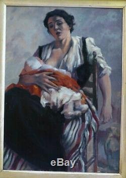 Remarquable & Grand Tableau 1950. Charmante Scène D'une Mère Allaitant Son Bébé
