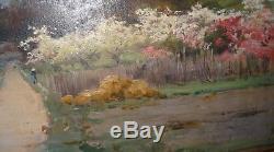 René FATH peinture tableau paysage au printemps barbizon impressionnisme 1900's