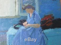 René Genis 1922-2004-Tableau/huile-Femme-Ecole de Paris-atelier-Bardone