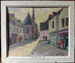 René Sartre, Soir à Guérande, église St Aubin huile sur bois, début 50