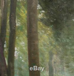 Robert Abbadie Sous bois 1930 grande huile sur toile proche courant Nabi 70x50cm