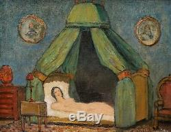 Robert LEMONNIER tableau huile érotique femme nue lit château Batisse Auvergne