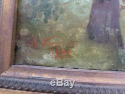 SUPERBE huile sur acajou IMPRESSIONNISTE Signé A. Nicolas 1892 femme ombrelle
