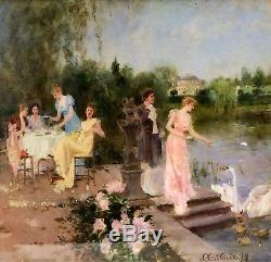 Scène Galante Au Jardin. Huile Sur Bois. J. (josefina) Juliá Vilar. Espagne. 1899