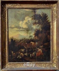 Scène Pastorale, Huile sur Panneau XVIIIéme