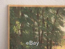 Sous-bois lumineux huile sur carton de Bousquet (33 x 46)