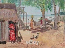 Stéphane MAGNARD tableau huile voyage AFRIQUE Madagascar paysage malgache canard
