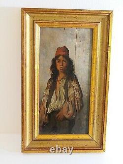 Sublime huile sur bois ORIENTALISTE portrait d'un jeune homme d'époque XIXe