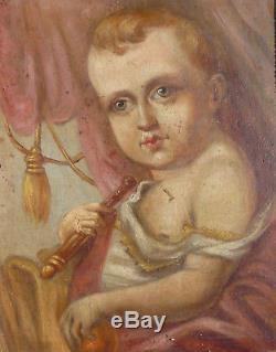 Suite de 4 tableaux XIX° siècle Napoléon Bonaparte, portraits de famille