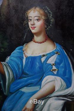 Sup. Portrait d'une Dame du XVIIème, armoiries, panneau sur bois très bon état