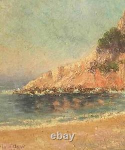 Superbe Bord de mer Côte d'Azur Cap d'Ail par André BRILLET vers 1930 + cadre