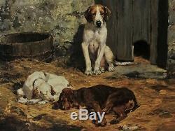 Superbe Charles-Olivier de Penne (1831-1897), Trois chiens au chenil