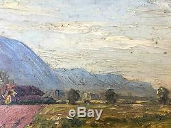 Superbe HSP vue d'Echirolles (Isère) par André Léon ALBERTIN (1867-1933) + cadre