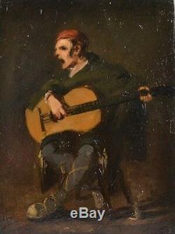 Superbe Huile sur Bois d'Eugène Forel Joueur de Guitare 1882 Fontarrabie