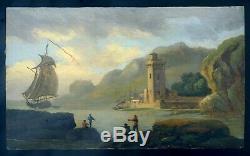 Superbe Huile sur bois 18 siècle Italie voilier port phare goût Joseph Vernet