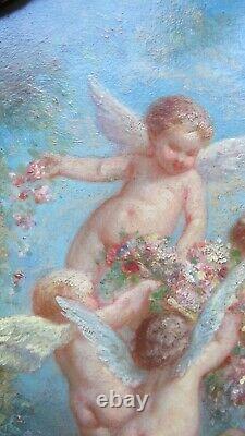 Superbe Peinture Angelots / Putti Grand Peintre Henry Sieurac