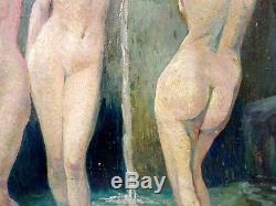 Superbe Peinture vers 1950 Les Trois Grâces Raymond Martinez Nu Féminin