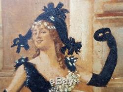 Superbe et rare Felicien Rops petite huile sur bois vers 1880 1890