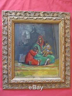 Superbe huile orientaliste par Mercédès Ducomet Mère et ses enfants