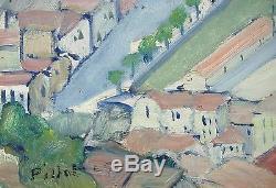 Superbe peinture de PILLOT Lac de Côme Argegno Italie
