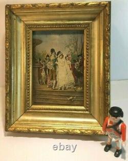 Superbe petit tableau ancien Incroyable Merveilleuse Directoire, huile sur bois